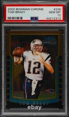 2000 Bowman Chrome Tom Brady #236 PSA 10 GEM MINTFAVORED in 2022 to win SB #8