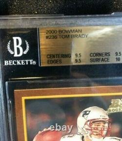 2000 Bowman TOM BRADY Rookie RC 236 BGS 9.5 = PSA 10 True Gem Mint+
