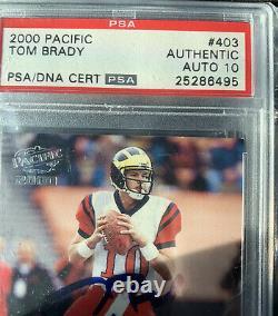 2000 Pacific Tom Brady #403 Rookie On-Card Autograph PSA AUTO 10