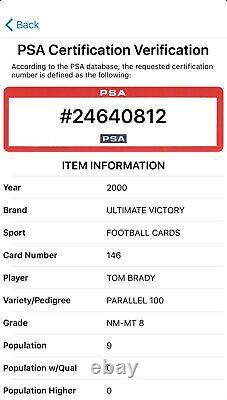 2000 Ultimate Victory TOM BRADY #76/100 Parallel Rookie PSA 8! POP 9 NONE HIGHER