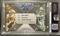 2018 Panini XR Gold Brady Brees Rodgers Triple Auto Jersey swatches card 2/3