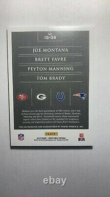 2019 Tom Brady Impeccable Football Quad AUTOGRAPH Montana Favre Manning 1/5 Auto