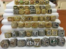 53pcs 1966 Packers to 2019 Patriots American Football Team Ring Set Fan Men Gift