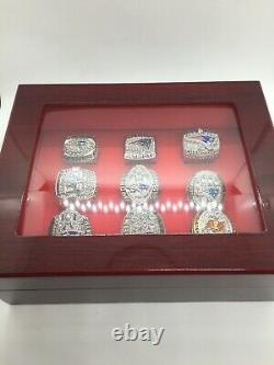 9 Pcs New England Patriots Tom Brady Super Bowl Championship Ring Set with Box