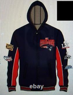 NEW ENGLAND PATRIOTS 5 TIME SUPER BOWL CHAMPIONSHIP Hooded Jacket S M L XL 2X