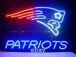 New England Patriots Logo Neon Light Sign 17x14 Beer Cave Gift Lamp Bar