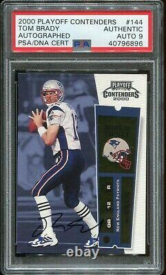 Tom Brady 2000 Playoff Contenders ROOKIE RC PSA/DNA 9 AUTO #144 PSA Authentic