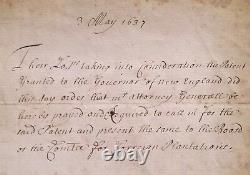 1637 Charte Manuscrit Antique De La Nouvelle-angleterre Patriotique Als Colonial Americana