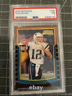 2000 Bowman #236 Tom Brady Nouvelle-angleterre Patriotes Rookie Football Card Psa 7 Nm