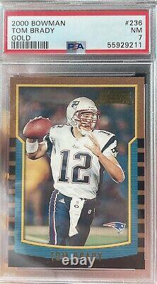 2000 Bowman #236 Tom Brady Patriots Bucs Rc Rookie Psa 7 Nm Lire La Description