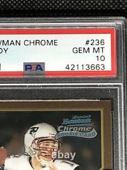 2000 Bowman Chrome #236 Tom Brady Rookie Psa 10 Gem Mint Patriots Rc Hot