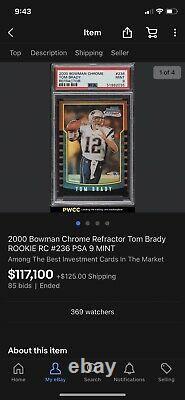 2000 Bowman Chrome Réfracteur Tom Brady Rookie Rc #236 Bgs 9 Mint Deux 9,5s