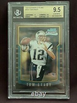 2000 Bowman Chrome Tom Brady Rc Nouvelle Angleterre Patriotes #236 Carte De Football Bgc 9.5