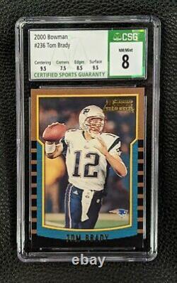 2000 Bowman Tom Brady Rookie Card #236 Csg 8 Nm/mt 9.5 Centrement Et 9.5 Surface