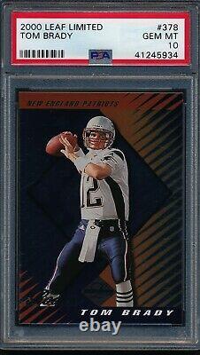 2000 Leaf Limited Tom Brady Rookie Rc #378 /350 Psa 10 Gem Mint