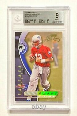 2000 Playoff Absolute Tom Brady #18/300 Gold Coaches Honors Rookie Bgs 9 Mint