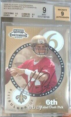2000 Playoff Contenders Bgs 9 Mint Tom Brady Round Numbers Rookie Auto