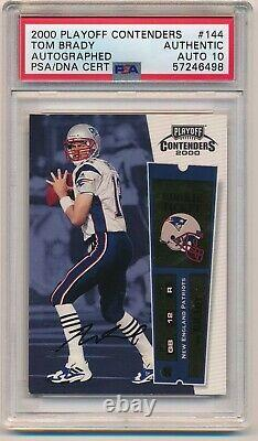 2000 Playoff Contenders Tom Brady Auto Rookie #44 Rc Psa Auth 10 Autograph
