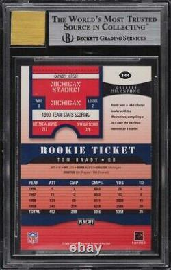 2000 Playoff Contenders Tom Brady Rookie Auto #144 Bgs 9 Mint 10 Centrage