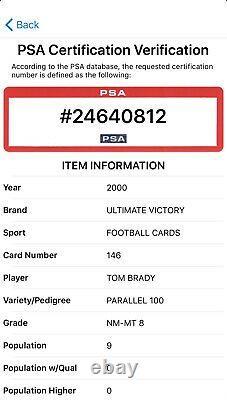 2000 Ultimate Victory Tom Brady #76/100 Parallel Rookie Psa 8! Pop 9 Aucun Plus Élevé