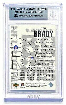 2000 Upper Deck Black Diamond Tom Brady #126 Rookie Rc Bgs 9 Mint! Chèvre
