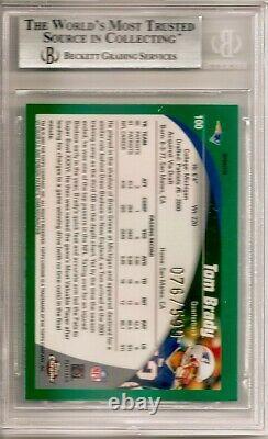 2002 Topps Chrome Tom Brady Refracteur Noir #'d 76/599 Bgs 9 Mint #100 Pop 18