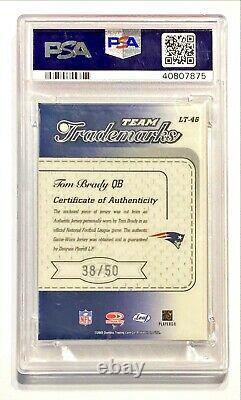 2003 Leaf Limited Tom Brady #38/50 Jeu Worn Jersey Patch Auto Psa 9 Mint! Pop 1 Annonces