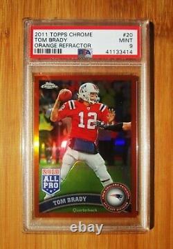 2011 Topps Chrome Orange Refracteur #20 Tom Brady Patriotes Psa 9 Mint
