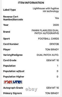 2020 Panini Flawless Tom Brady 6/10 Dual Patch Auto Game Worn Material Psa 10