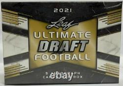 2021 Leaf Ultimate Football Draft Factory Scelled Hobby Box 5 Autographes Par Boîte