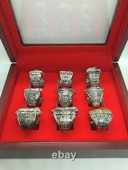 9 Pcs New England Patriots Tom Brady Super Bowl Championship Ring Set Avec Boîte