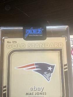 Mac Jones 2021 Or Standard Auto Rookie Carte Rpa #/22 Patriots 4 Couleur 3 Patch