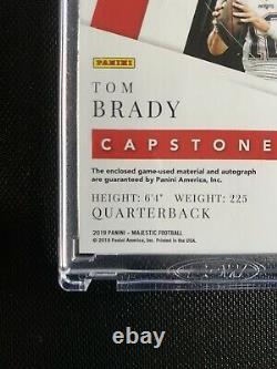 Majestic Capstones 2019 Tom Brady Jeu Utilisé Quad Patch Sur Carte Auto #d 1/3