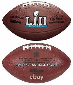 NFL Super Bowl 52 Authentic Wilson Game Football Avec Eagles & Patriots Inscrit