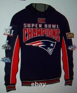 New England Patriots 5 Temps Super Bowl Championship Veste À Capuche S M L XL 2x