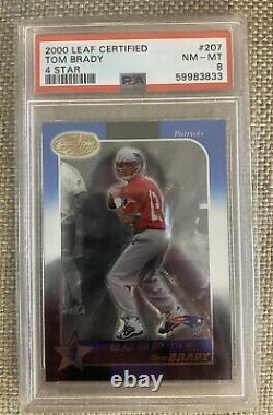 Tom Brady 2000 Leaf Certifié Rc Psa 8