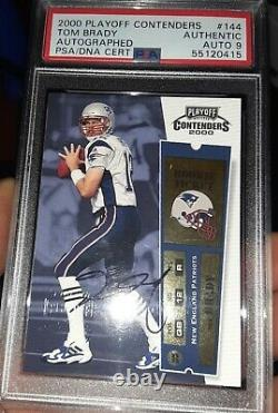Tom Brady 2000 Playoff Contenders Auto Rookie Ticket Authentic Autograph 9 Psa