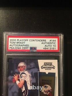 Tom Brady 2000 Playoff Contenders Rookie Ticket Psa / Dna Authentic 10 Auto Rc