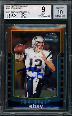 Tom Brady A Signé 2000 Bowman Chrome Rookie Card Bgs 9 Gem 10 Auto 13060288