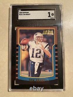 Tom Brady Bowman Rookie Card #236 Patriotes De La Nouvelle-angleterre Sgc 1