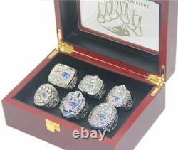 Tom Brady Mvp New England Patriots 6 Super Bowl Ring Set Avec Boîte D'affichage En Bois