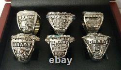 Tom Brady New England Patriots 6 Super Bowl Ring Set Avec Boîte D'affichage En Bois