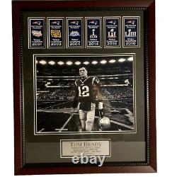 Tom Brady Photo Personnalisée Encadré À 16x20 Avec Patriots Super Bowl Banners